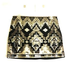 SALE! 🔥 Express | Sequin Aztec Print Mini Skirt